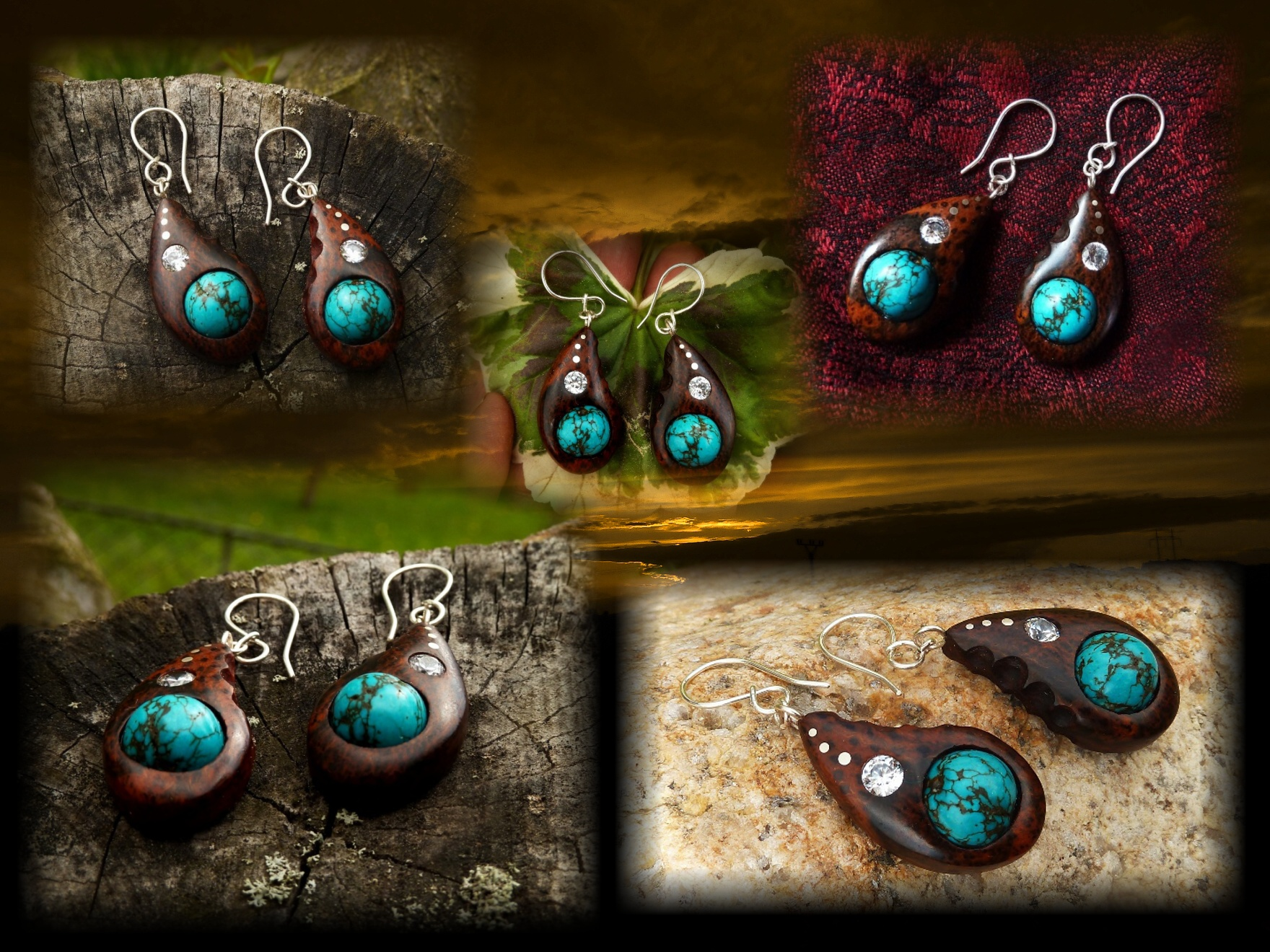 EARRINGS NA - 045 GRASSTREE - TYRKYS - ZIRKON